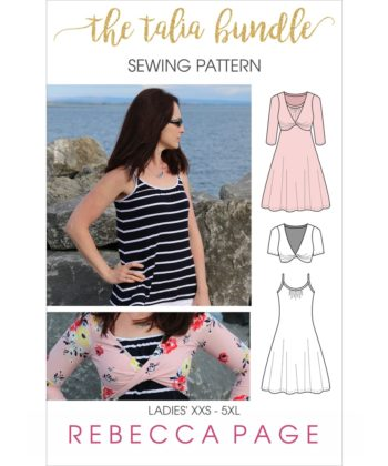 This lovely ladies twist top and dress sewing pattern bundle is lovely set designed to be worn together or as simple separates.