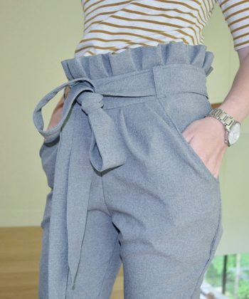 Piper is a super stylish and comfy ladies paperbag pants sewing pattern. These trousers are slim fitting and flattering and they have pockets!