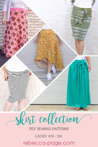 A beautiful bundle of ladies skirt sewing patterns, including the Hayley, the Stevie, the Arabella, the Peggy, and the Paige. This skirt collection is love!