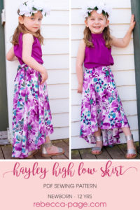 Flowy, fun, and fabulous, the Hayley high low skirt sewing pattern gives you HIGH impact with LOW effort! It's got maximum wow factor and is a really quick and easy sew!With this pattern you get a five-panel skirt with an elasticated back waist and a brilliantly billowy back train! Even better… you can add POCKETS! And a sash that you can tie in the front or the back.