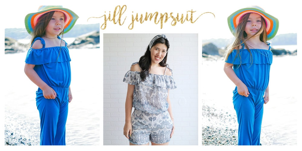 Jill is a summery off the shoulder jumpsuit sewing pattern in sizes newborn to 12 years and XXS to 5XL with a cute frilled flounce around the shoulders!