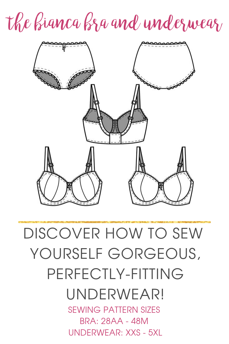 The Bianca lingerie sewing pattern offers an underwire bra and briefs in a range of sizes. You get a gentle lift, excellent support, and full bum coverage!