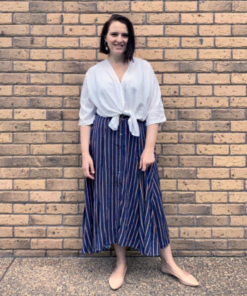 Grab your wovens and get ready to add a beautiful blend of chic and classic style to your wardrobe with this skirt sewing pattern!