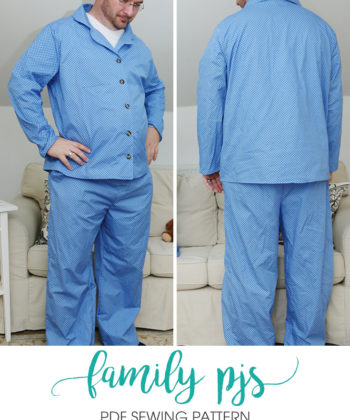 This mens pjs sewing pattern will see you through all seasons and preferences: short sleeves, long sleeves, trousers, or shorties.