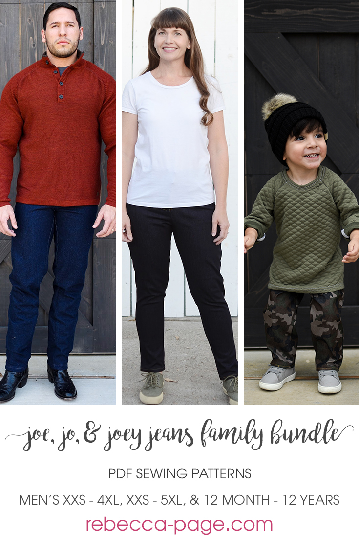 The Jo, Joe, & Joey Jeans Sewing Pattern Swipe up for the comfiest wardrobe staple everyone needs!