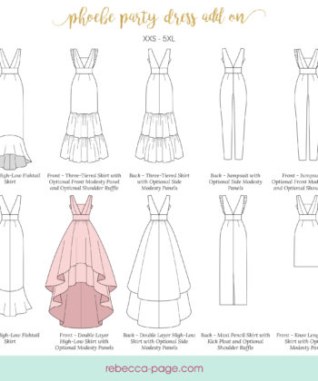 Supercharge your Phoebe party dress sewing pattern with the complete set. Get 5 stunning sewing patterns you can mix and match to create your perfect look.
