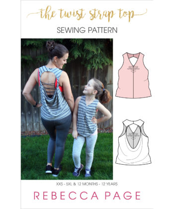Whip up these cute, quick and easy loose top sewing patterns in less than an hour! The Twist Strap Top comes in XXS to 5XL and 12 months to 12 years.