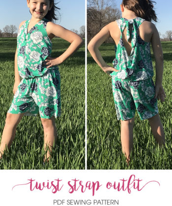 From fabric stash to cool and comfy outfit in no time! The Twist Strap Outfit gives you a childrens baggy jumpsuit sewing pattern and a bonus dress!