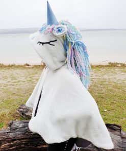 This quick and easy to sew unicorn cape pattern is the perfect dress up outfit. It comes in sizes XS to XL and has a bunch of different options!