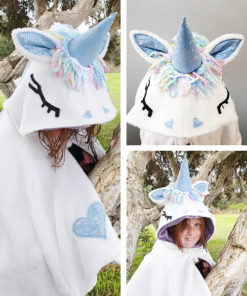 The Unicorn Cape sewing pattern is a beginner-friendly step-by-step guide to creative fun! It comes in sizes XS to XL and children's newbron to 12 years!