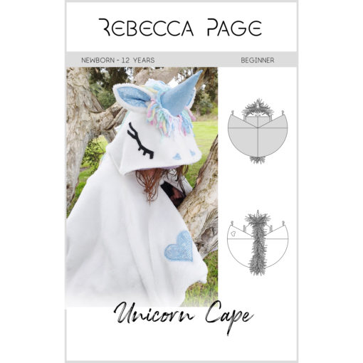 The Unicorn Cape sewing pattern is a beginner-friendly step-by-step guide to creative fun! It comes in sizes newborn to 12 years and many different options!