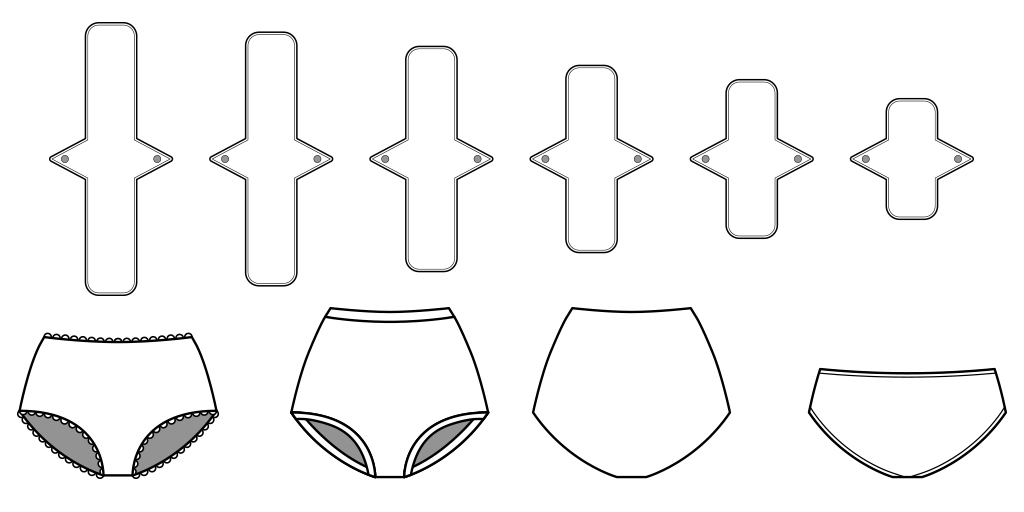 Turn your scraps into every day essentials and something healthy, affordable, and eco-friendly with these underwear and pads sewing patterns.