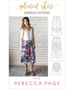 This beautiful pleated skirt sewing pattern you'll love to sew and wear has a bunch of options and comes in sizes XXS to 5XL.