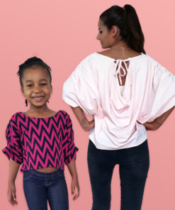 A simple drapey sew with the wow factor. This draped top sewing pattern is comfy and stylish, and comes in sizes XXS to 5XL and 12 months to 12 years.