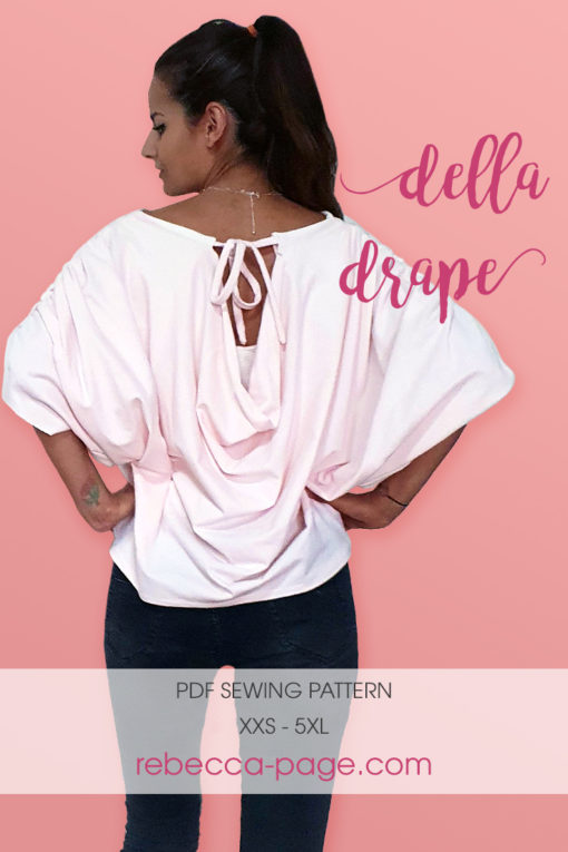 A simple drapey sew with the wow factor. This ladies draped top sewing pattern is comfy and stylish, and comes in sizes XXS to 5XL