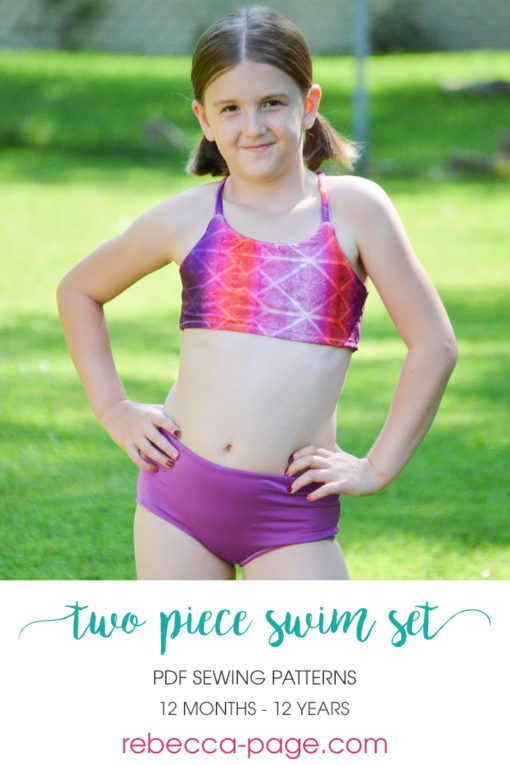 Mix and match your favorite options for a gorgeous two-piece swimsuit. This childrens two piece swimsuit sewing pattern comes in sizes 12 months to 12 years