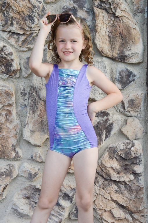 A beginner-friendly, classic children's ruched swimsuit sewing pattern, the Ruched Swimsuit has many options and comes in sizes 12 months to 12 years