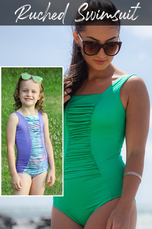 A beginner-friendly, classic ruched swimsuit sewing pattern, the Ruched Swimsuit has many options and comes in sizes XXS to 5XL and 12 months to 12 years