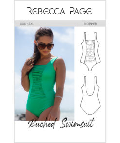 A beginner-friendly, classic ladies ruched swimsuit sewing pattern, the Ruched Swimsuit has many options and comes in sizes XXS to 5XL