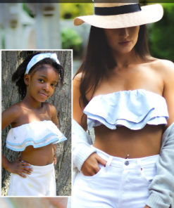 The Bandeau Top: A quick gorgeous sew for those hot summer days. This crop top sewing pattern comes in sizes XXS to 5XL and 12 months to 12 years