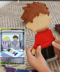 Sew an easy, fun, boutique set of felt dolls and a matching vintage-style suitcase for hours of fun with these customizable and versatile patterns