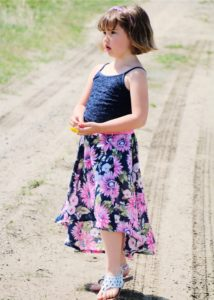 Flowy and fun, the childrens high low skirt sewing pattern gives you HIGH impact with LOW effort! A really quick sew with maximum wow factor!