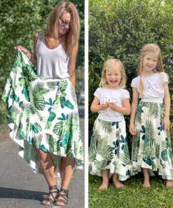 This 5-panel high low skirt pattern is a beginner-friendly statement sew in sizes 12 months to 12 years and XXS to 5XL