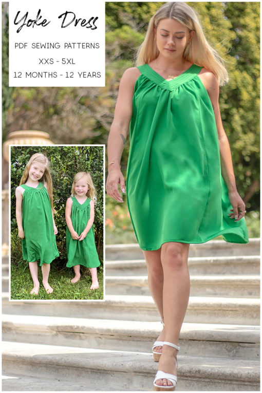 Sew some fresh summery style with this every day essential. The Yoke Dress sewing pattern has three lengths and comes in sizes XXS to 5XL and 12 months to 12 years.