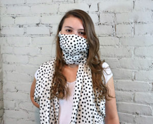 Learn how to sew a pleated, shaped, and scarf face covering with this free face mask sewing pattern in sizes XS to XL.