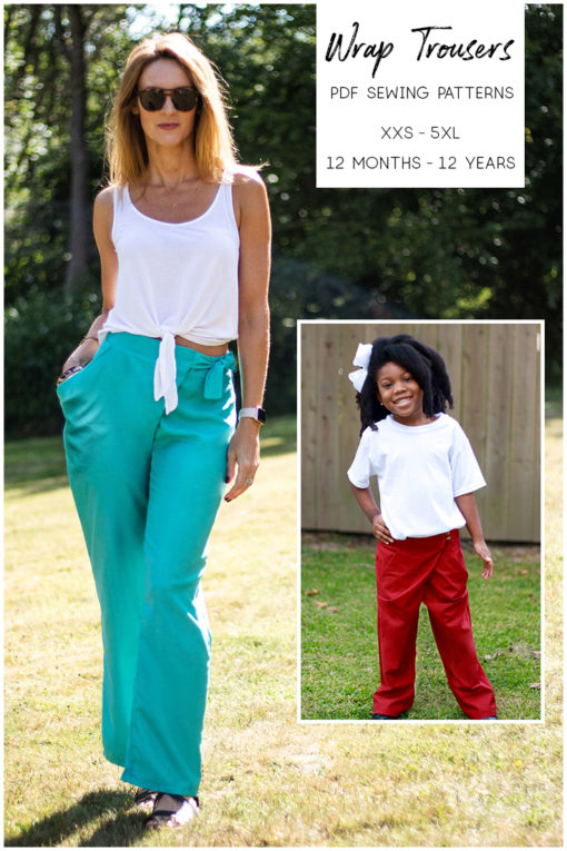 No zip and draped pockets mean this beginner-friendly wrap trousers sewing pattern sews up in a few hours. Sizes XXS to 5XL and 12 mos to 12 yrs.