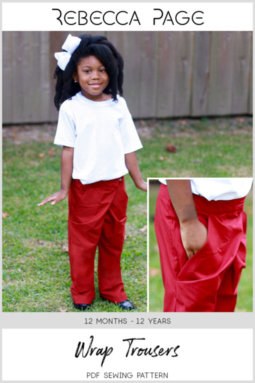 No zip and draped pockets mean this beginner-friendly children's wrap trousers sewing pattern sews up in a few hours. Comes in sizes 12 months to 12 years