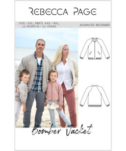 Sew up some warm, sporty casual style for the whole family with this bomber jacket pattern in sizes 12 months to 12 years, XXS to 5XL, and men's XXS to 4XL