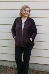 Sew up some warm, sporty casual style with this ladies bomber jacket sewing pattern in sizes XXS to 5XL