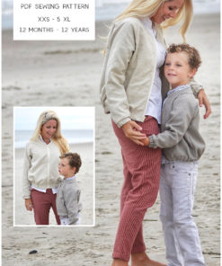 Sew up some warm, sporty casual style with this bomber jacket sewing pattern in sizes 12 months to 12 years and XXS to 5XL.