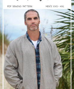 Sew up some warm, sporty casual style with this men's bomber jacket sewing pattern in sizes XXS to 4XL