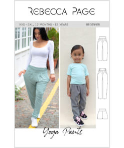 The deliciously comfy yoga pants sewing pattern with pockets come in sizes XXS to 5XL and 12 months to 12 years.