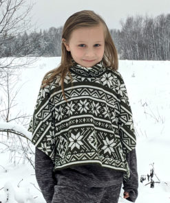Keep warm with this quick and easy sew. This gorgeous Sweater Cape is a children's poncho sewing pattern in sizes 12 months to 12 years.