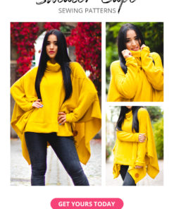 Keep warm with this quick and easy sew. This gorgeous Sweater Cape is a poncho sewing pattern in sizes XXS to 5XL and 12 months to 12 years.
