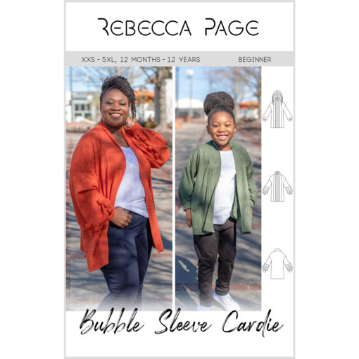 Go big with this gorgeous Bubble Sleeve cardigan! Big on style, features, and comfort, the sewing pattern comes in sizes XXS to 5XL and 12 months to 12 years
