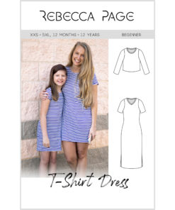 Sew the ultimate wardrobe staple with this tshirt dress sewing pattern. Loads of options and it comes in sizes XXS to 5XL and 12 months to 12 years.