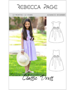 A childrens classic dress sewing pattern for every occasion! Sew this sweet style with your favorite wovens in sizes 12 months to 12 years.