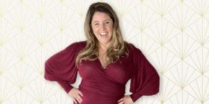 Rebecca Page wears the Flutter Wrap Dress