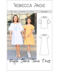 Delight in comfort and style with a butterfly-sleeve dress! The Ruffle Sleeve Tunic Dress sewing patterns are available in sizes 12 months to women's 5XL