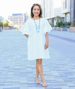 Delight in comfort and style with the women's butterfly sleeve dress sewing pattern! The Ruffle Sleeve Tunic Dress can be made in knits and wovens, has a bunch of options to suit any style and comes in sizes XXS to 5XL.
