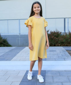 Delight in comfort and style with the children's butterfly sleeve dress sewing pattern! The Ruffle Sleeve Tunic Dress can be made in knits and wovens, has a bunch of options to suit any style and comes in sizes 12 months to 12 years.