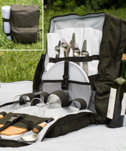 Relax and snack in style with this modern picnic set. The bundle includes sewing patterns for a picnic backpack and matching blanket.