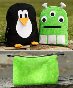 Sew a best bud for back to school fun with the animal (or alien!) backpack and matching zip pouch!