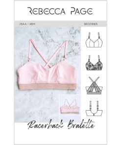 Whip up your new go-to everyday-fave bralette with the comfy and versatile Racerback Bra Sewing Pattern in sizes 28AA to 48M.