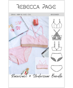 Sew up your new comfy go-to everyday matching underwear set with the versatile two-piece bra and undies sewing patterns.